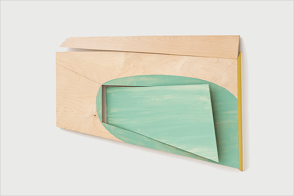 "The Play - 2014 Baltic birch, paint, vinyl 23"" x 33"" x 4"""