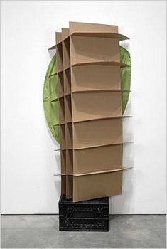 "Building Back – 2007. Cardboard, vinyl, crate. 77"" x 22"" x 13"""